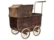 在白色隔绝的19世纪婴孩摇篮车 免版税库存照片