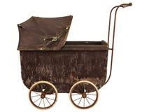 在白色隔绝的19世纪婴孩摇篮车 免版税库存图片