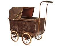 在白色隔绝的19世纪婴孩摇篮车 库存照片