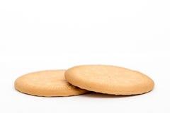 在白色隔绝的2个简单的饼干 免版税库存照片