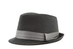 在白色隔绝的黑人的帽子 免版税库存照片