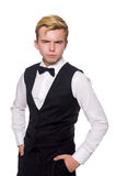 在白色隔绝的黑经典背心的年轻人 图库摄影