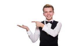 在白色隔绝的黑经典背心的年轻人 免版税库存图片