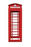 在白色隔绝的经典英国红色电话亭 免版税库存图片