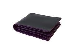在白色隔绝的黑和紫色皮革钱包 免版税库存照片