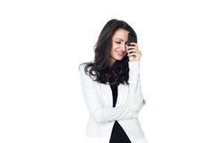 在白色隔绝的年轻女实业家 免版税库存照片