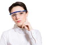 在白色隔绝的年轻女性科学家 免版税库存图片