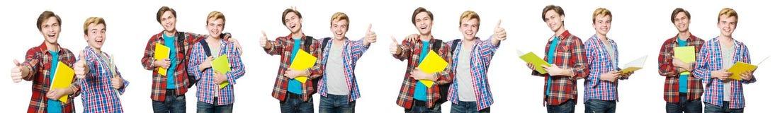 在白色隔绝的年轻学生 免版税库存照片
