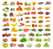 在白色隔绝的水果和蔬菜收藏 免版税图库摄影