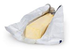 在白色隔绝的黄油 免版税库存照片