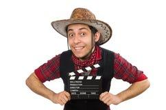 在白色隔绝的年轻牛仔 免版税库存照片