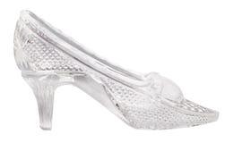 在白色隔绝的玻璃一鞋子 图库摄影