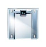 在白色隔绝的玻璃重量标度 免版税库存照片