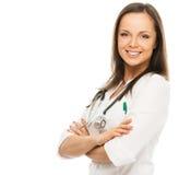 在白色隔绝的年轻医生妇女 免版税库存图片