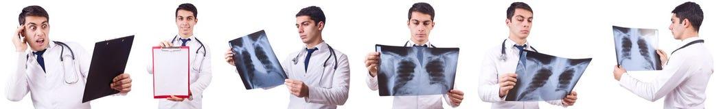 在白色隔绝的年轻男性医生 免版税图库摄影