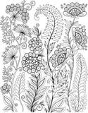 在白色隔绝的黑白野花 抽象乱画背景由花和蝴蝶制成 传染媒介着色页 皇族释放例证