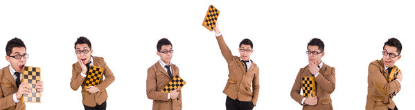 在白色隔绝的滑稽的下象棋者 库存照片