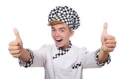 在白色隔绝的滑稽的厨师 图库摄影