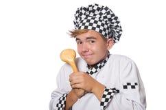 在白色隔绝的滑稽的厨师 免版税库存图片