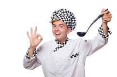 在白色隔绝的滑稽的厨师 免版税库存照片