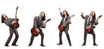 在白色隔绝的滑稽的吉他演奏员 免版税库存图片
