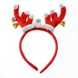 在白色隔绝的滑稽的圣诞老人驯鹿头饰带。 免版税库存图片