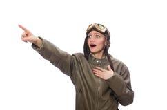 在白色隔绝的滑稽的妇女飞行员 免版税图库摄影