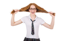 在白色隔绝的年轻滑稽的学生女性 库存照片