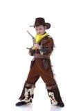 在白色隔绝的滑稽的矮小的牛仔 免版税库存照片