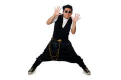 在白色隔绝的滑稽的年轻人跳舞 库存照片