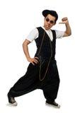 在白色隔绝的滑稽的年轻人跳舞 免版税库存图片