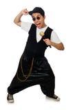 在白色隔绝的滑稽的年轻人跳舞 免版税库存照片