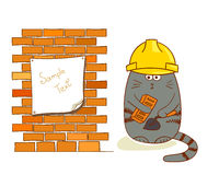 在白色隔绝的滑稽的建筑工人 免版税库存照片