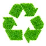 在白色隔绝的绿色回收的标志 免版税库存图片