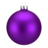 在白色隔绝的紫色圣诞节球 免版税库存照片
