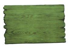 在白色隔绝的绿色木标志 免版税图库摄影