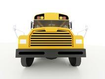 在白色隔绝的黄色校车 库存图片