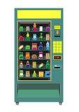 在白色隔绝的绿色自动售货机传染媒介 免版税图库摄影