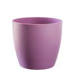 在白色隔绝的紫色花盆 免版税库存照片