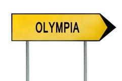 在白色隔绝的黄色街道概念标志奥林匹亚 库存图片