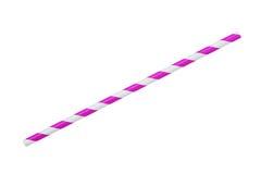在白色隔绝的紫色镶边eco纸秸杆 免版税图库摄影