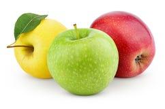 在白色隔绝的黄色,绿色和红色苹果 库存照片