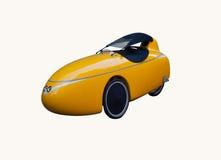 在白色隔绝的黄色velomobile 库存图片