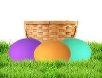 在白色隔绝的绿草的五颜六色的复活节彩蛋 免版税图库摄影