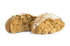 在白色隔绝的黑麦面包大面包 免版税图库摄影