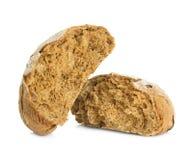 在白色隔绝的黑麦面包大面包 图库摄影