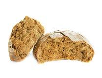 在白色隔绝的黑麦面包大面包 库存照片