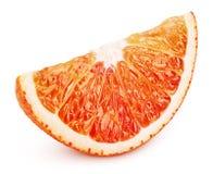 在白色隔绝的blood red橙色柑桔楔子  免版税库存图片