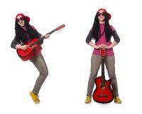 在白色隔绝的hipste吉他演奏员 库存照片
