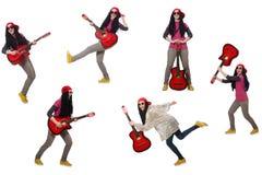 在白色隔绝的hipste吉他演奏员 免版税图库摄影